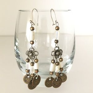 Bedouin coin earrings w/ mother of pearl beads